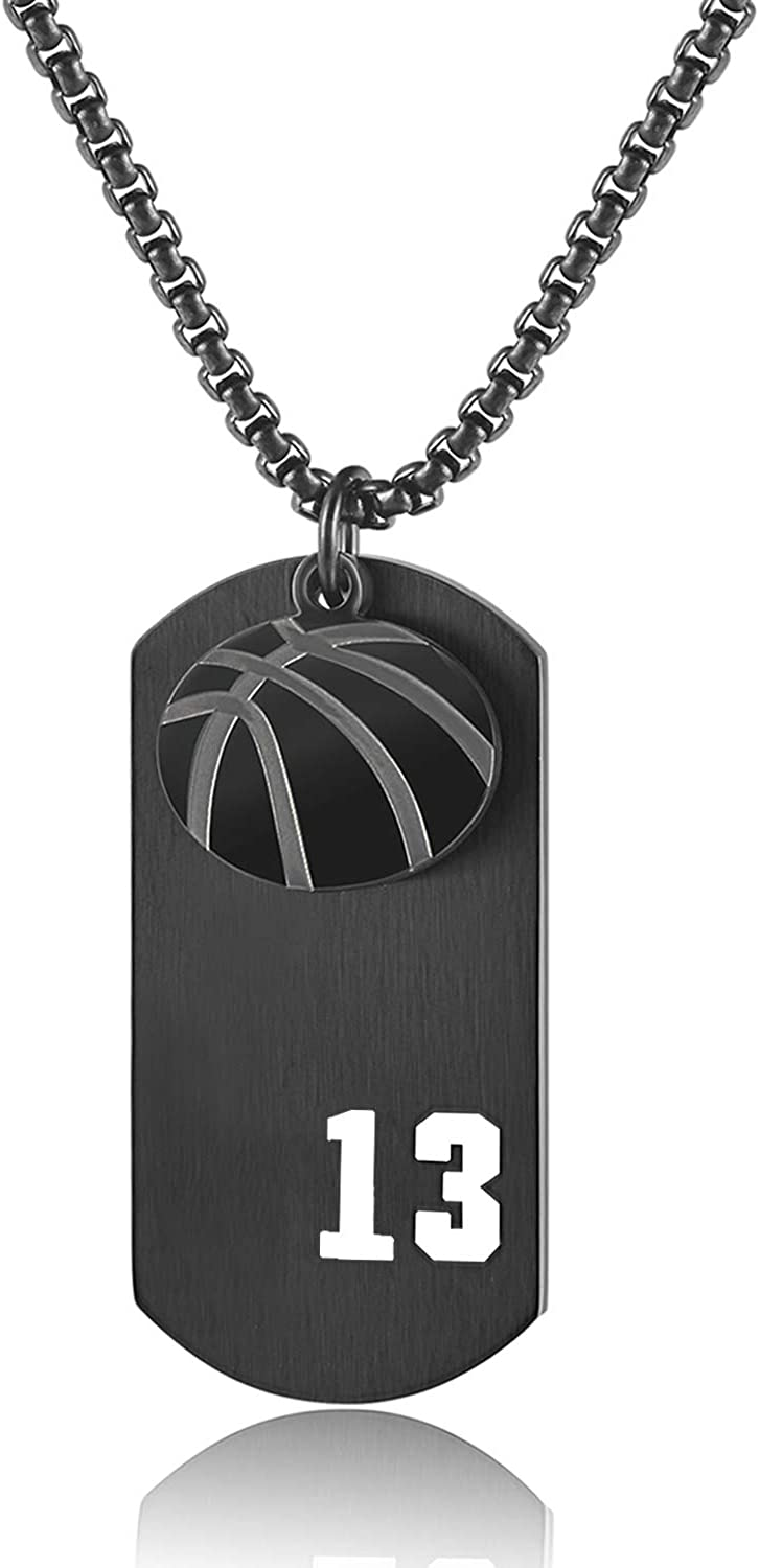Men's Basketball,Football,Baseball,Hockey Player Necklace Boy's Sport Dog Tag Pendant I Can Do All Things Charm Chain Crafted in Stainless Steel for Girl's Gift Jewelry
