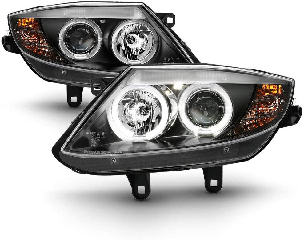 ACANII - For [HID Model] 2003-2008 BMW LED Halo Black Housing Projector Headlights Headlamps, Driver & Passenger Side