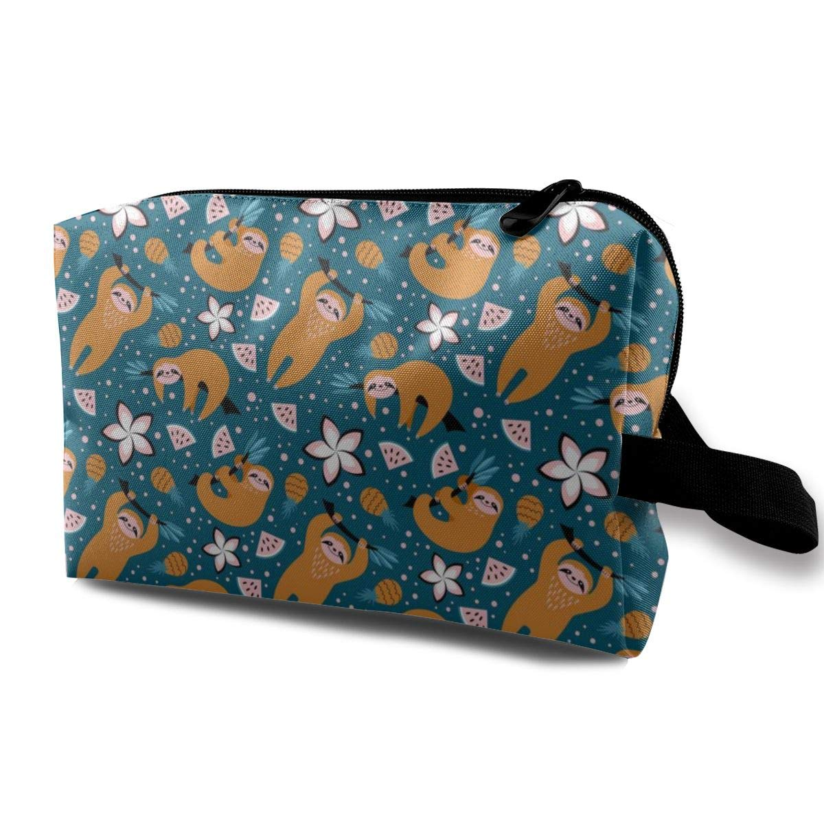 Cute Sloths And Fruits Flower Cosmetic Bag Adorable Roomy Makeup Bags Travel Waterproof Toiletry Bag Accessories Organizer for Women Men Kid