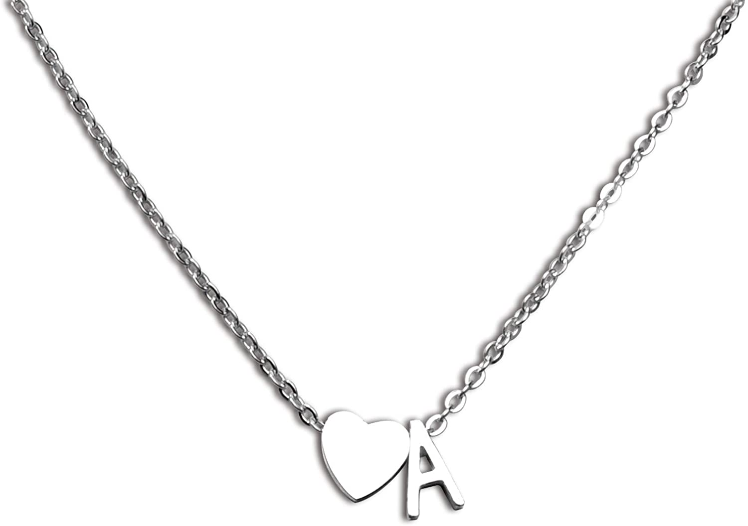 ecobuty Stainless Steel Initial Necklace for Women A-Z Initial Letter Pendant Silver Initial Necklace 26 Initial Letter Alphabet Necklace