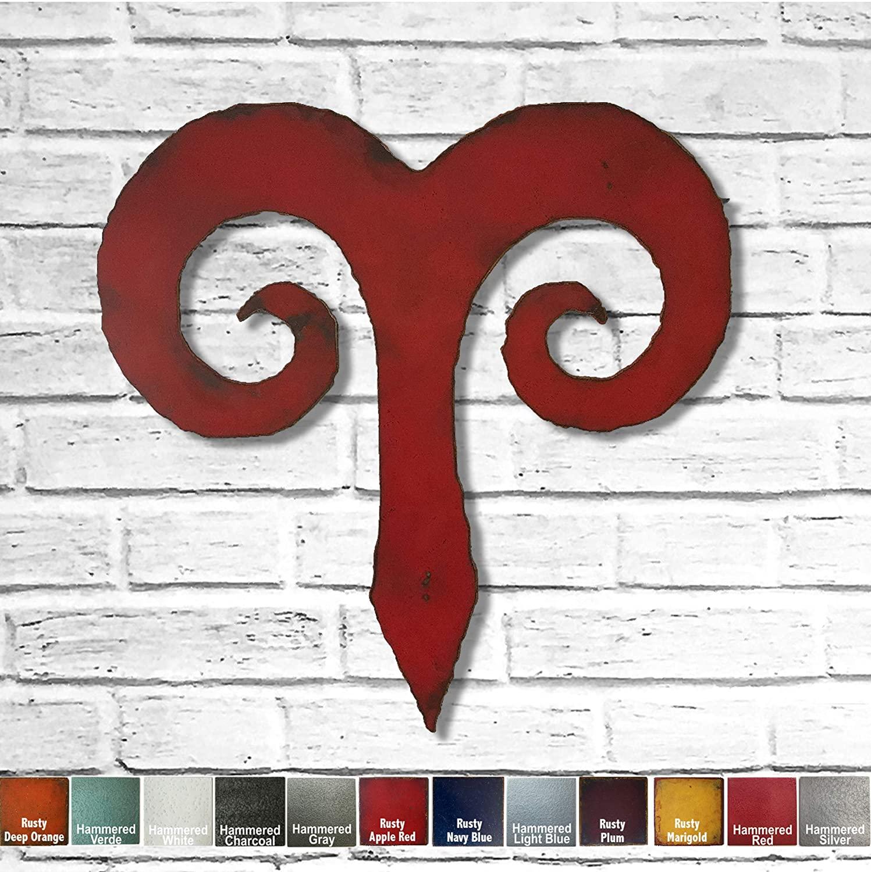 Aries metal wall art home decor - Choose 11, 17, or 23, Choose Patina color, Choose any Zodiac Horoscope Symbol