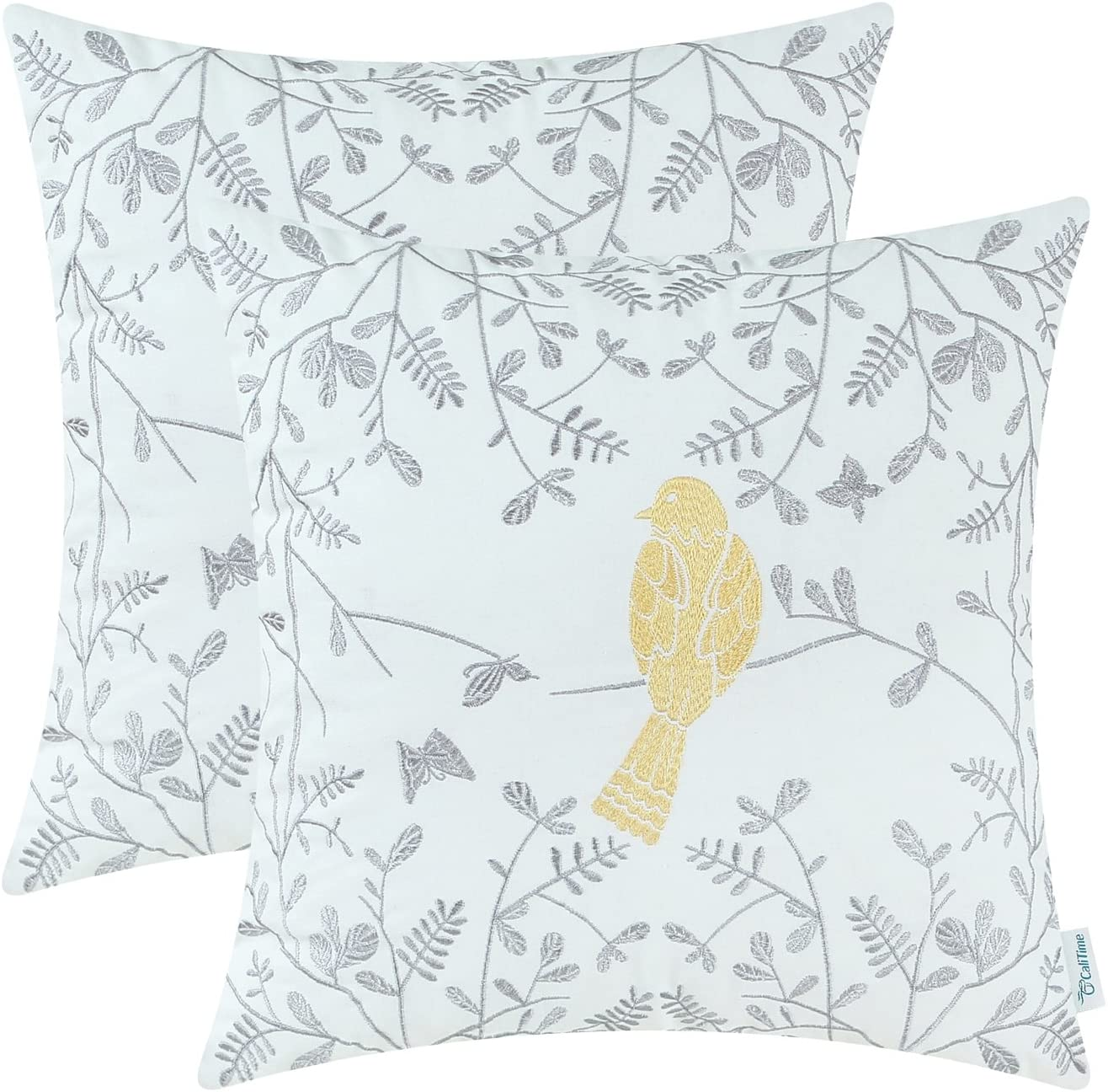 CaliTime Pack of 2 Cotton Throw Pillow Cases Covers for Bed Couch Sofa Cute Bird in Gray Garden Embroidered 18 X 18 Inches Gold