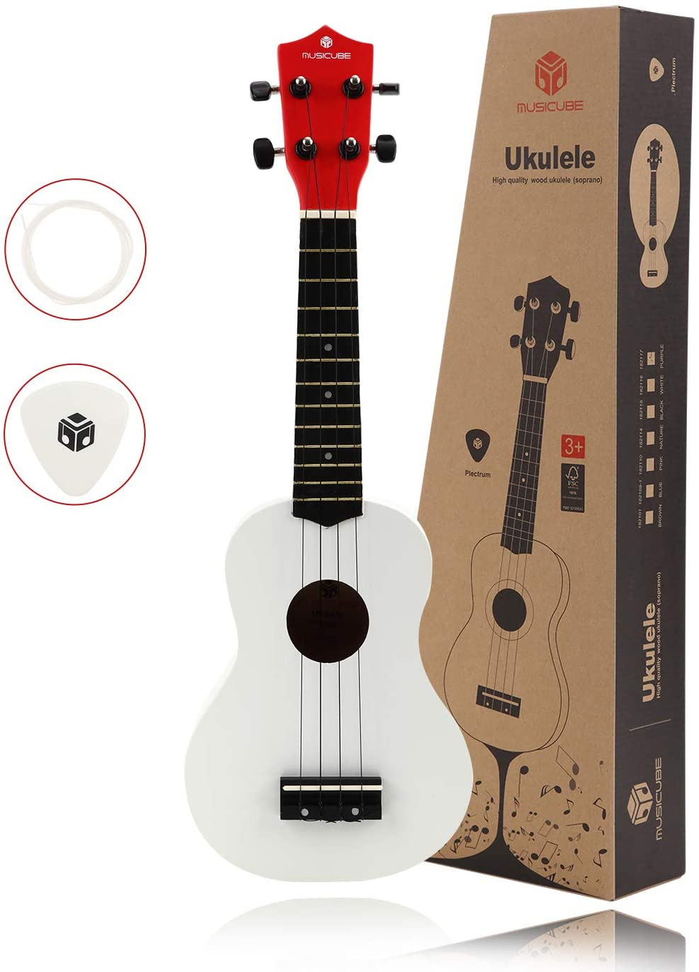 MUSICUBE 21 Inch Soprano Ukulele, Superior quality music toy, Picks and Spare Strings, Color Series, (White)