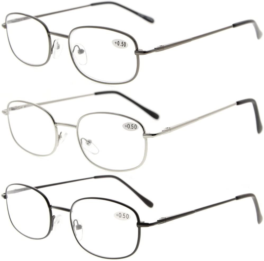 Eyekepper Metal Frame Spring Hinged Arms Reading Glasses 3 Pair Valupac Metal Readers +1.5
