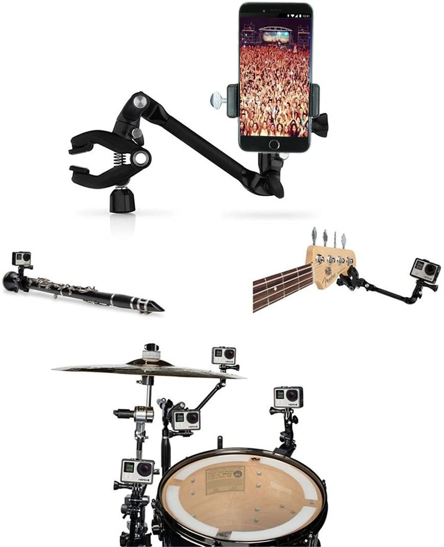 Octo Mounts - 360-degree Adjustable Desktop or Guitar Mic Bass Drum Keyboard Music Stand Mount for Smartphone or GoPro. Compatible with iPhone, Samsung, Android, HTC, GoPro and Other Action Cameras.