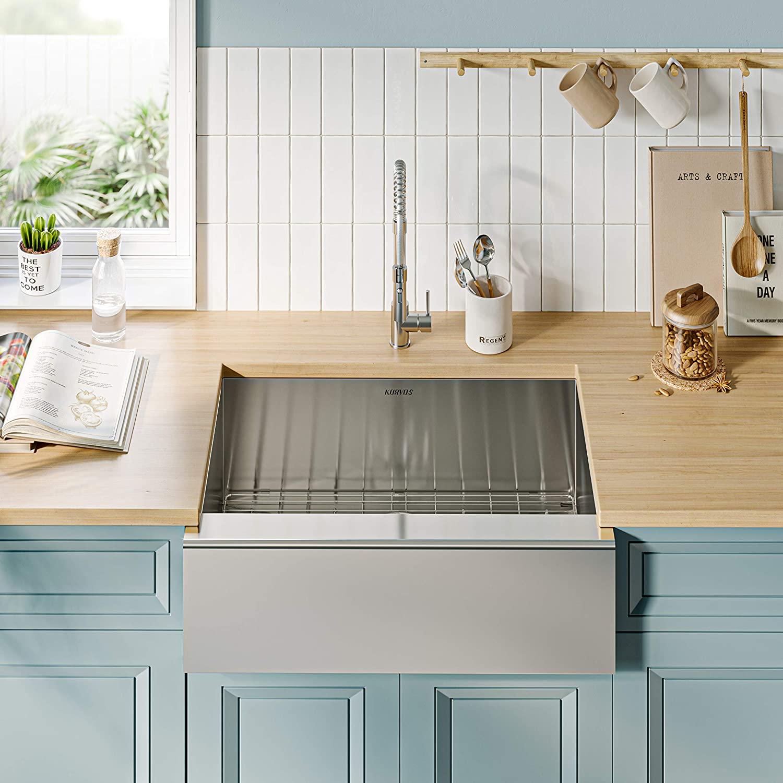 KORVOS 30''x20'' Apron-Front Farmhouse Kitchen Sink, Handmade 16 Gauge SUS304 Stainless Steel Undermount Single bowl Kitchen Sink