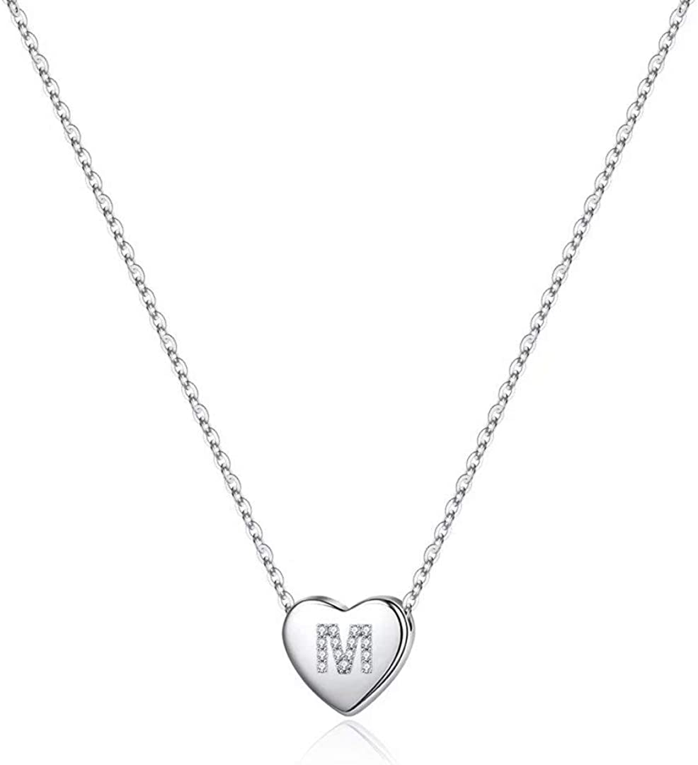 Memorjew 925 Sterling Silver Initial Necklace for Girls Women, Dainty Hypoallergenic Sterling Silver Cubic Zirconia Initial Heart Necklace for Women Girls Jewelry Gifts