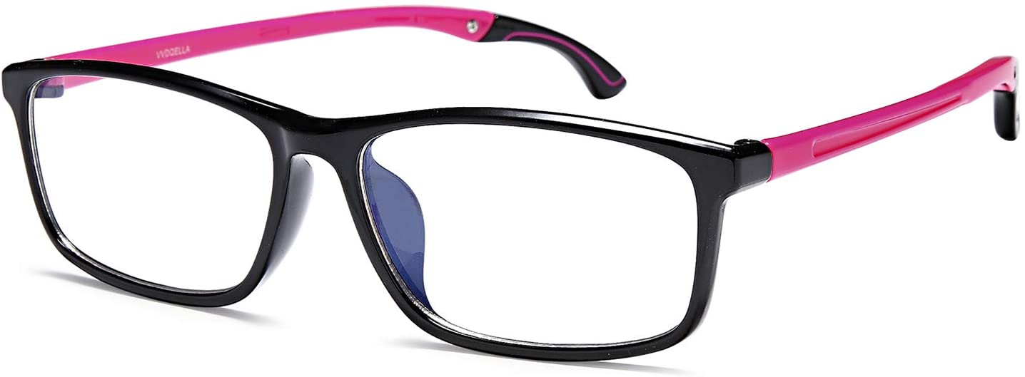 HUYAOPT Blue Light Blocking Reading Glasses TR90 Lightweight 1.0 Outdoor Sports Frame Foldable Legs UV Protection Anti Glare Computer/Game Readers Women(Pink, 1.0D)