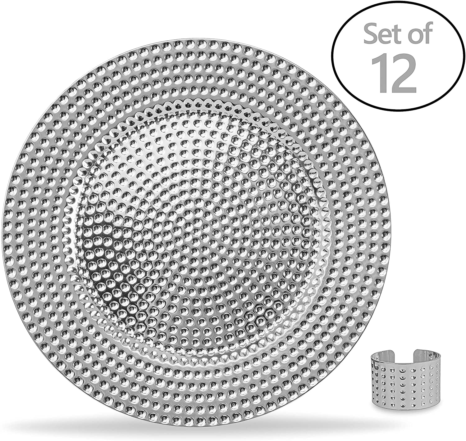 Home Collectives 13 Inch Round Elegant Serve ware Charger Plates with Matching Napkin Rings, Wedding, Dinner party, Event - Choose from our Variety of Styles and Quanties (12, Hammered Silver)