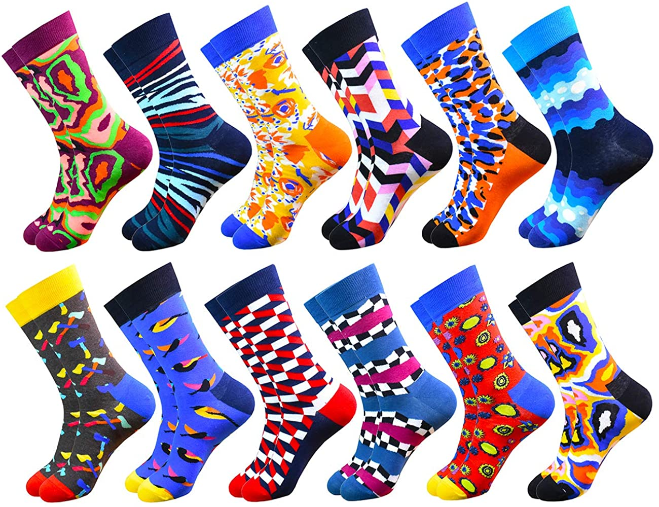 WEILAI Mens Funky Colorful Novelty Cool Design Crazy Comfort Cotton Casual Dress Crew Socks