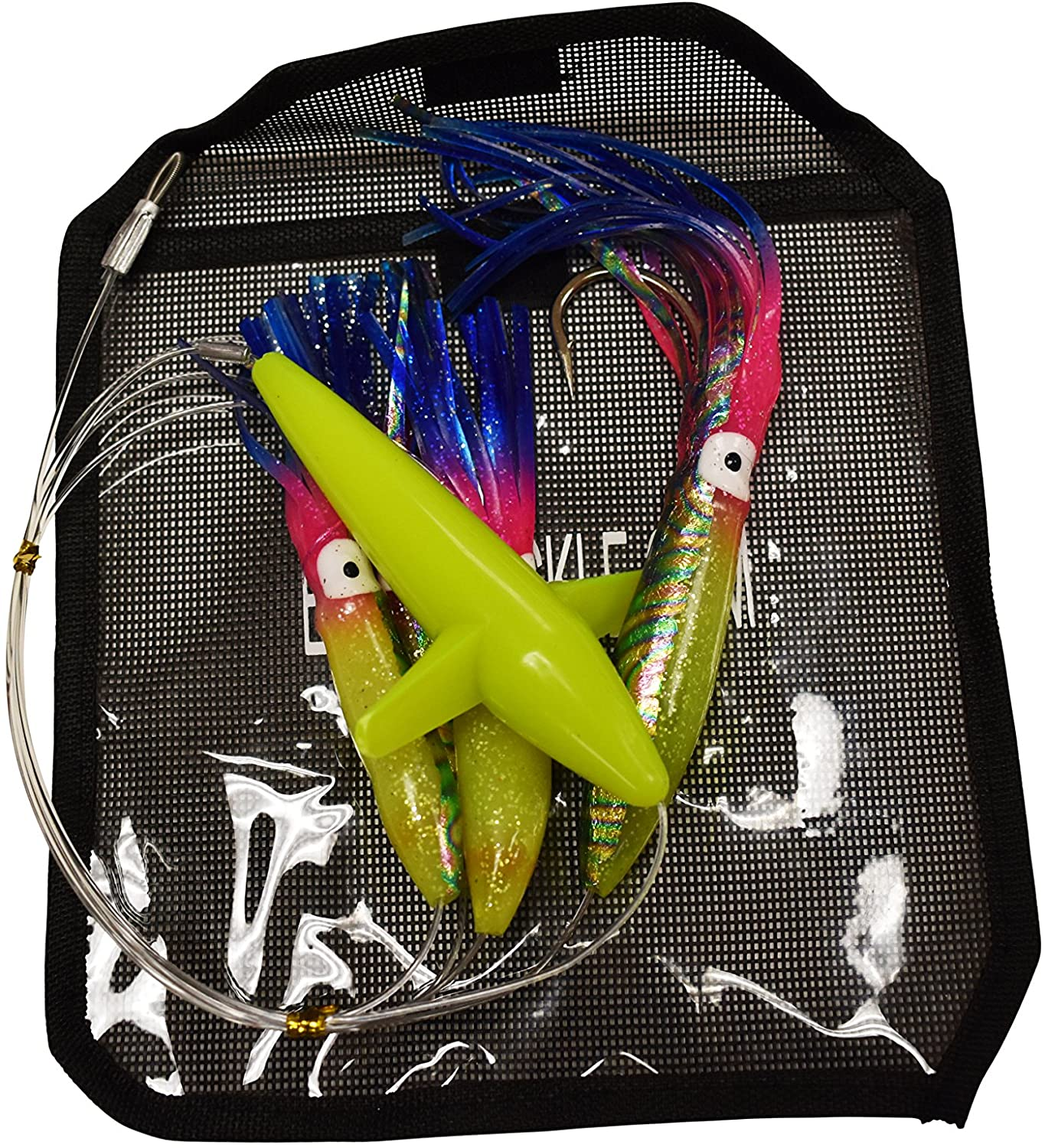 EAT MY TACKLE Daisy Chain Rigged Rainbow Squid and Bird Fishing Lure
