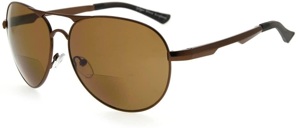Eyekepper Bifocal Sunglasses Pilot Style Bifocal Sunshine Readers Outdoor Reading Glasses (Brown, 2.00)