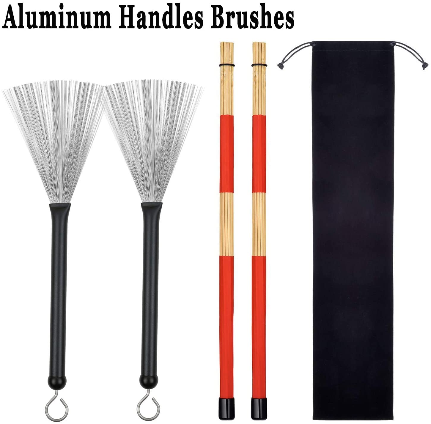 1 Pair Retractable Drum Wire Brushes with Comfortable Aluminum Handles and 1 Pair Rods Drum Sricks with Storage Bag for Jazz Folk Rock Band Music Lovers Drummers Beginners Students Adults (Black)