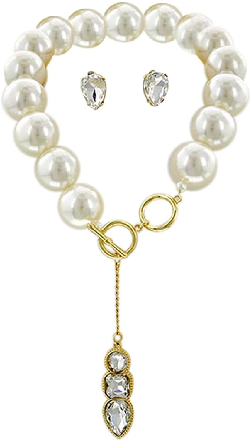 2Chique Boutique Womens Imitation Pearl & Clear Glass Necklace Set