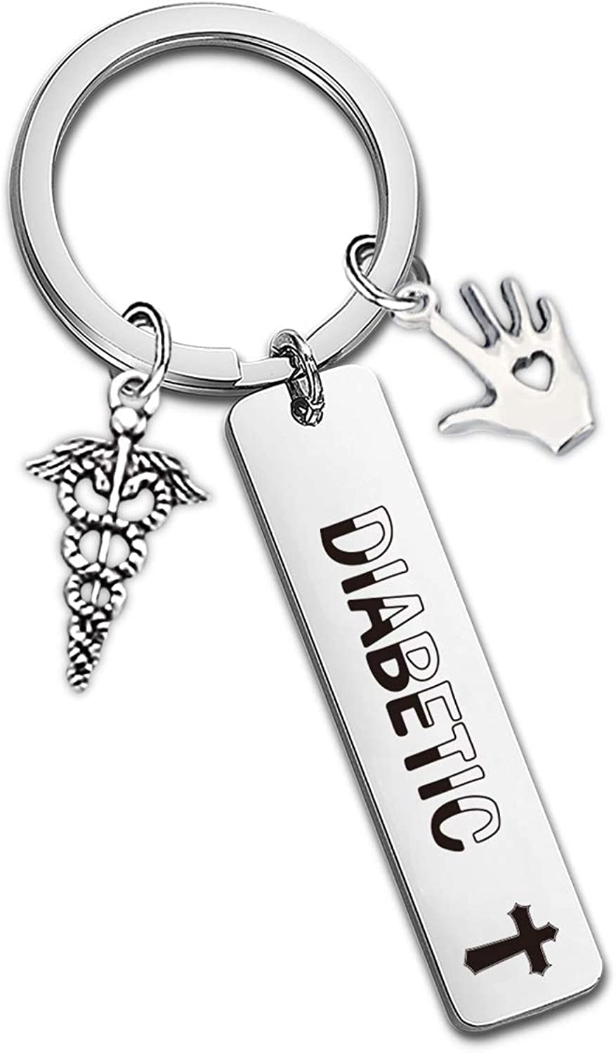 SIDIMELO Diabetic Keychain for Men Women Girl Boy Diabetic Medical Alert Keychain Diabetic Charm and Warning Charm Diabetic Health Symbol Sign Diabetes Emergency Key Chain