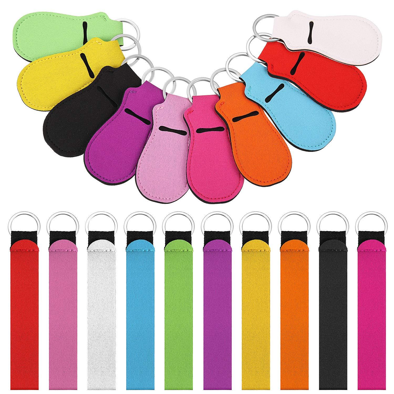 10 Pieces Chapstick Holder Keychain Lipstick Holder Clip-on Sleeve Chapstick Pouch Keychain Lip Balm Holder and 10 Pieces Wristlet Lanyards