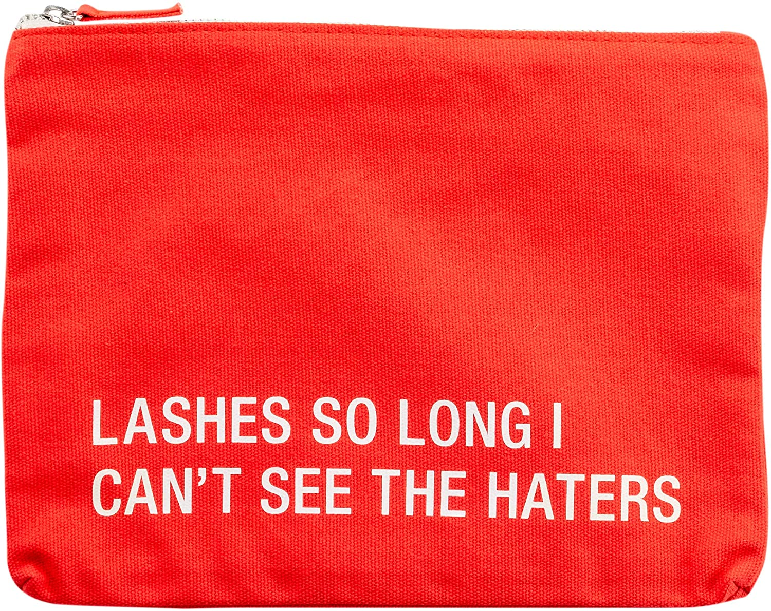 Lashes So Long I Can't See The Haters On Red Cotton Cosmetic Bag