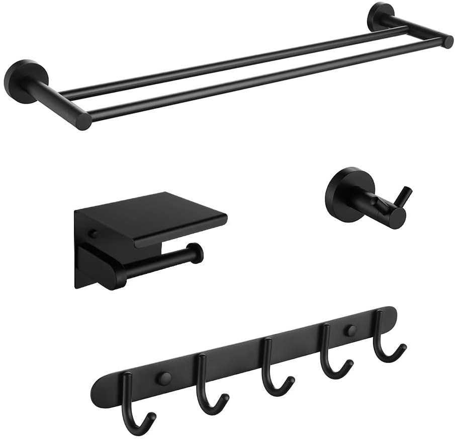 Iriber Bathroom Hardware Round Matte Black Double Bath Towel Bar Rack Shelf Caddy Accessory Set,Stainless Steel Coat Rack with 5 Scroll Hooks,Toilet Paper Holder,Robe Hook Wall Mounted,4-Piece