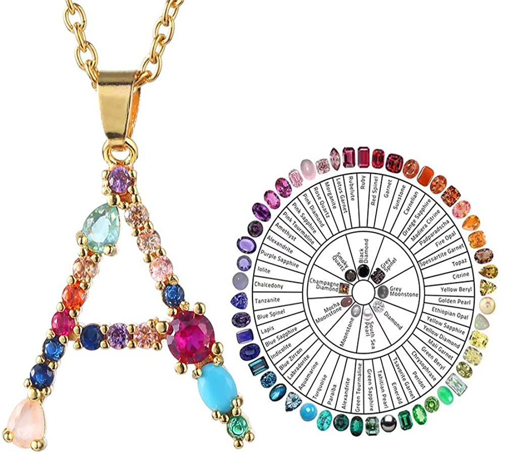 Initial Alphabet Necklace 14K Gold Plated A-Z 26 Pendant Letter Necklaces for Women Girls