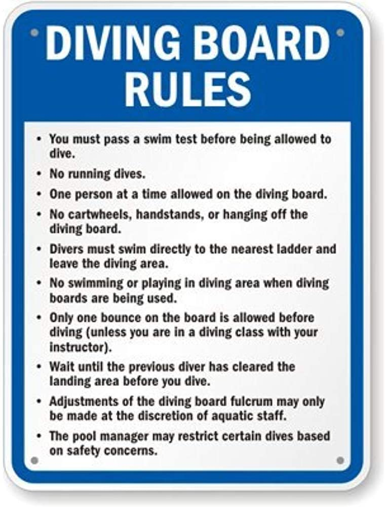 YFULL Safety Warning Signs.Diving Board Rules Sign.12 inches x 8 inches