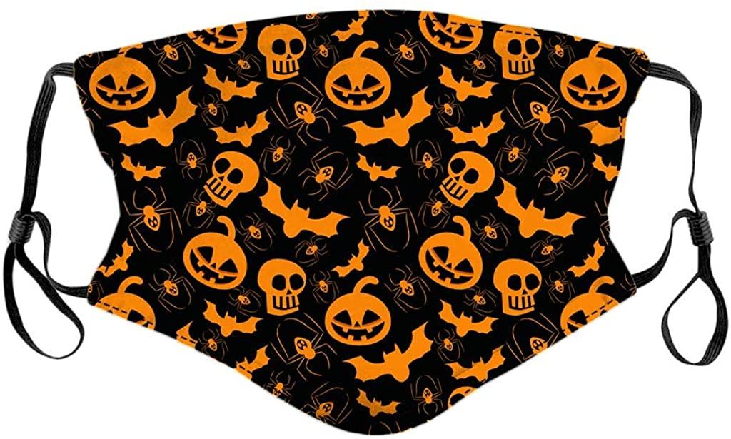 1PCS Funny Printed Halloween Bandanas Breathable Kids Cute Reusable Adjustable Fashion Washable Cloth Mouth Face_Mask