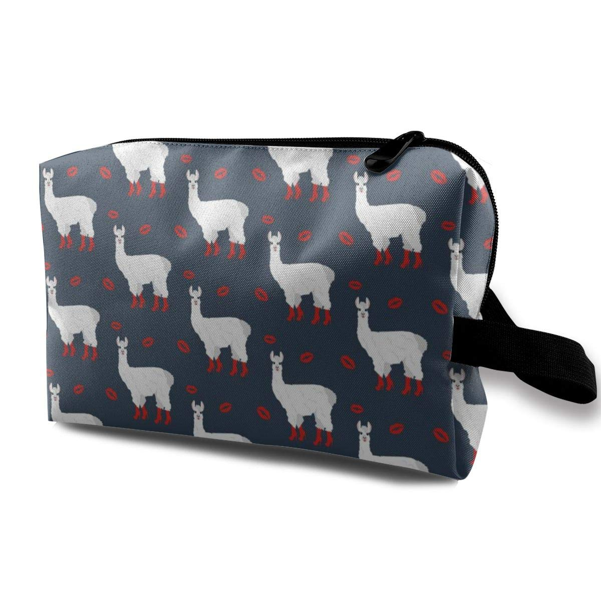 Llama With Red Boots On Lips Background Portable and Waterproof Cosmetic Bag Purse Travel Toiletry Bag Organizer Bag Pencil Case,for Cosmetic Lipstick Coin Jewelry Electronic Accessories