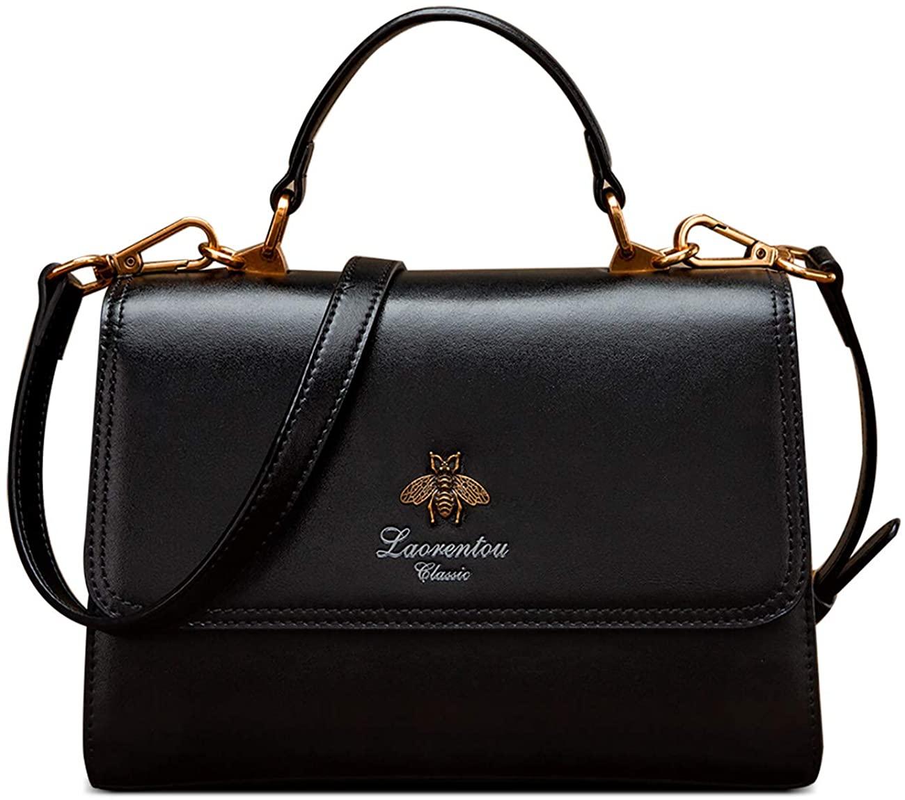 LAORENTOU Cowhide Leather Shoulder Bags for Women Purses and Handbags for Women Crossbody Bag Ladies Black Purses