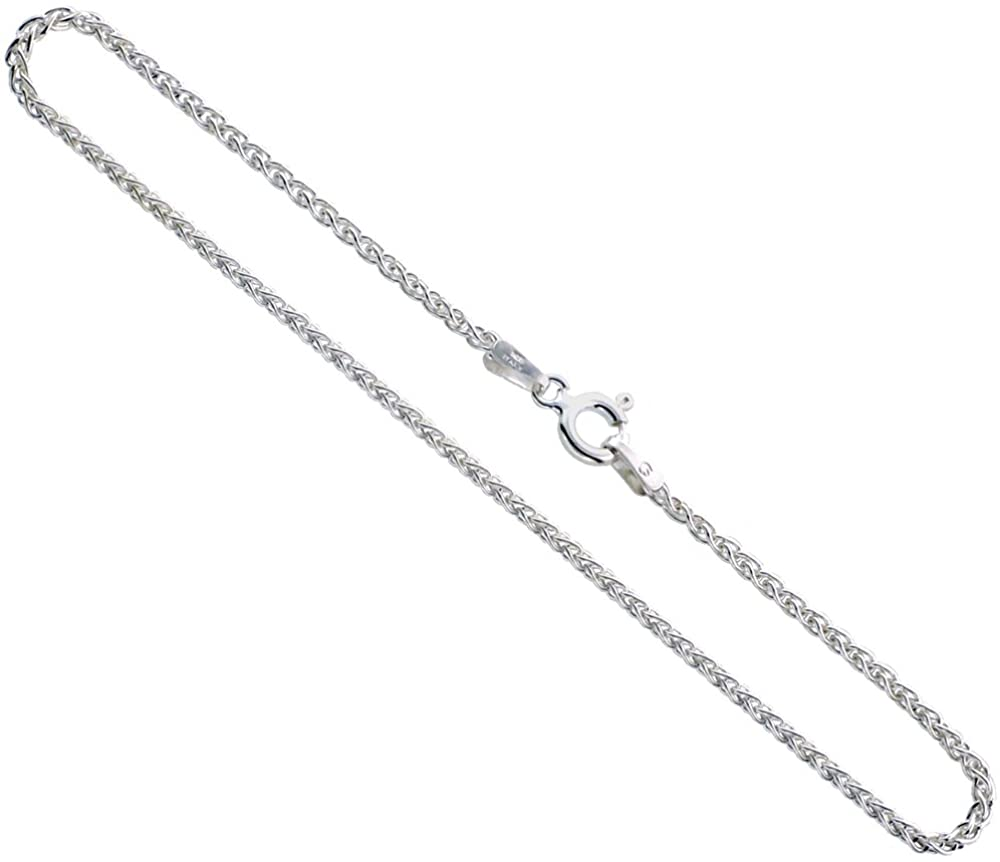 Double Accent Sterling Silver Spiga Wheat Chain Necklace Italian High Polished 2 MM (Available 16