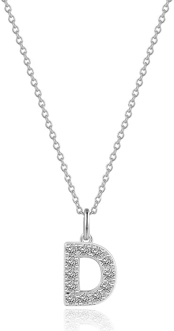Carleen White Gold Plated 925 Sterling Silver AAA Clear Cubic Zirconia CZ Dainty Initial Necklace Letter Alphabet Pendant Chain Jewelry for Women Girls, 16 + 2 Extender