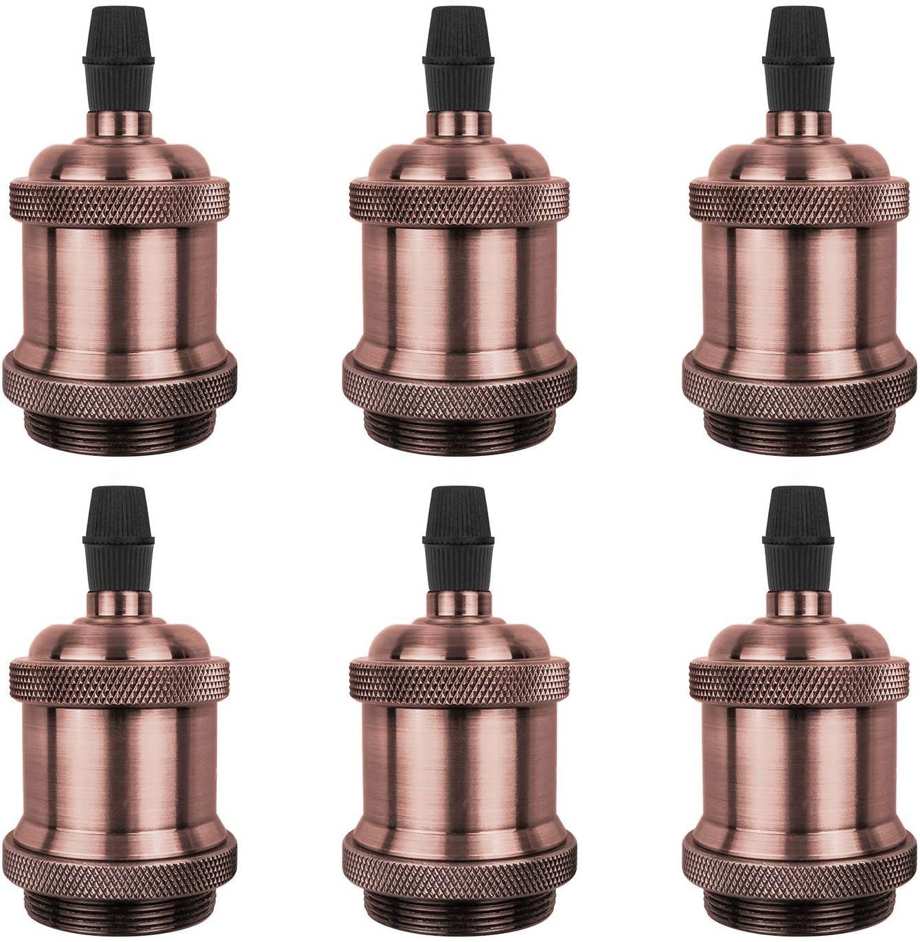 DiCUNO Vintage E26 Lamp Socket, Edison Retro Pendant Lamp Holder, Industrial and Decorative for DIY Lighting, 600℃ Heat Resistant Red Copper Color 6 Packages