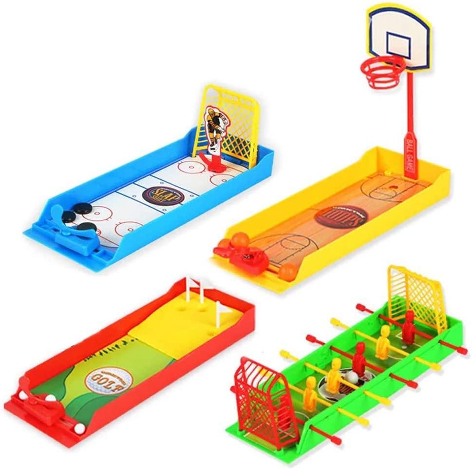 Children's Educational Interactive Desktop Toys Finger Football Basketball Golf Hockey Table Games Toy Boy/Girl (4 Pack)