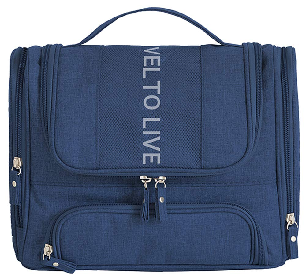 Scioltoo Premium Large Travel Hanging Toiletry Bag for Men and Women with Expandable Compartments for Cosmetics Makeup Tools Brushes for Brushes Shampoo A-DARK BLUE