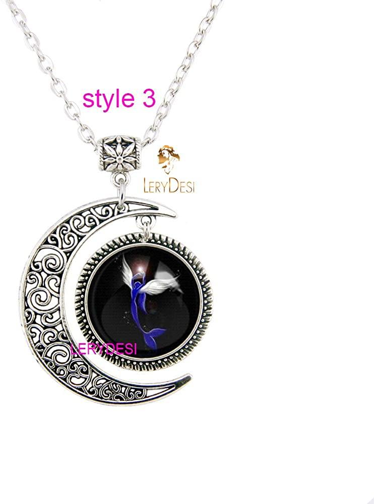 LERYDESI Fashion Mermaid Necklace Moon Jewelry Magic Pendant Delicate Gift for Teen Girls Women Fairytale Cartoon