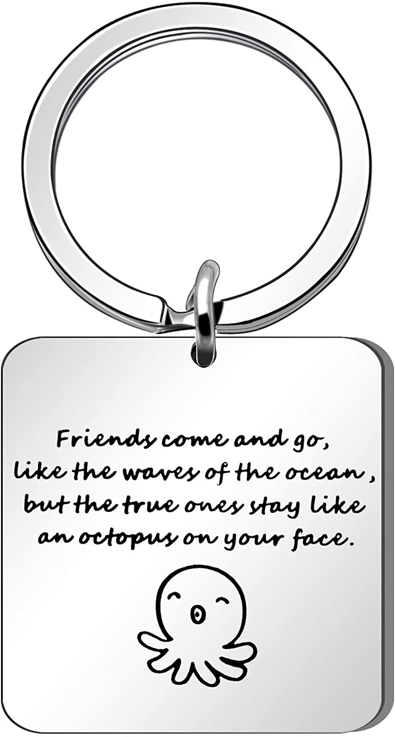 Maxforever Funny Friendship Gift The Ture Friend Like an octopus Keychain Keyring Perfect Gift for Best Friends (Silver), Large