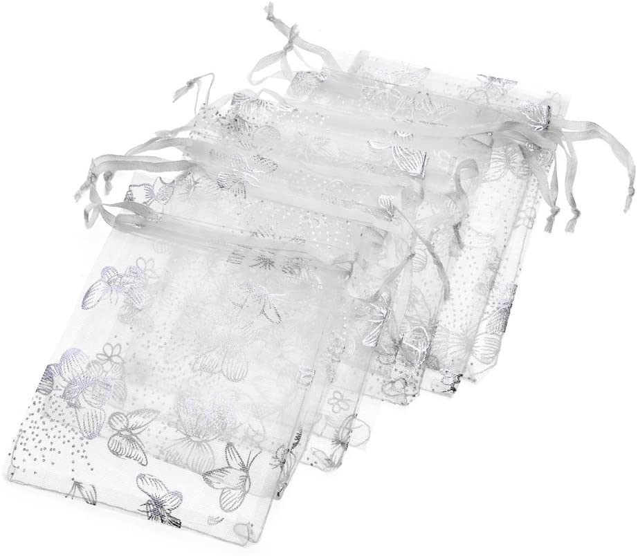 Tovip Wholesale 100PCS Organza Bag Butterfly Design Wedding Pouches Jewelry Packaging Bags (White, 2.7x3.5 (7x9cm))