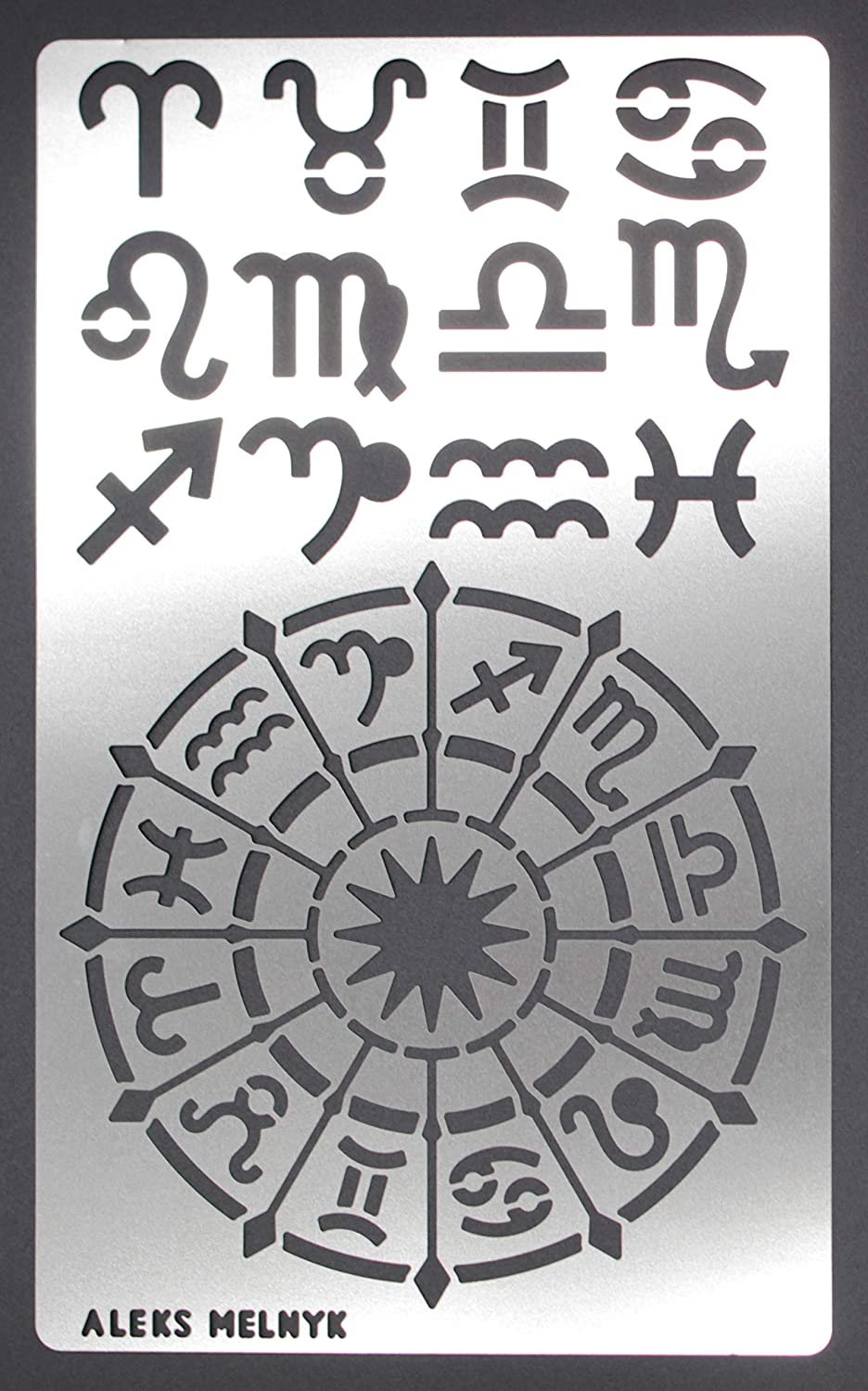 Aleks Melnyk #29a Metal Stencil/Witchy Grimoire, Zodiac Glyphs Symbols/Stainless Steel Stencil 1 PCS/Template Tool for Wood Burning, Pyrography and Engraving/Crafting/DIY