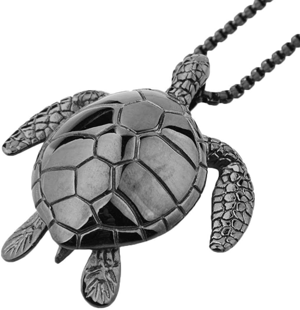 Ineffable Sea Turtle Pendant Chain Stainless Steel Jewelry Charm Pendant Necklaces Women Men Gifts