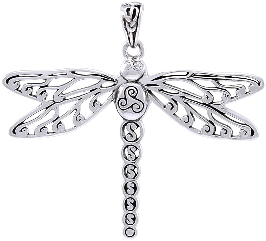 Jewelry Trends Celtic Triskele Dragonfly Sterling Silver Pendant