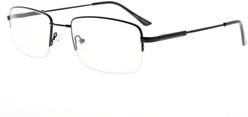 Eyekepper Mens Half-Rim Reading Glasses Memory Readers with Bendable Titanium Bridge and Temple (Black,+2.25)