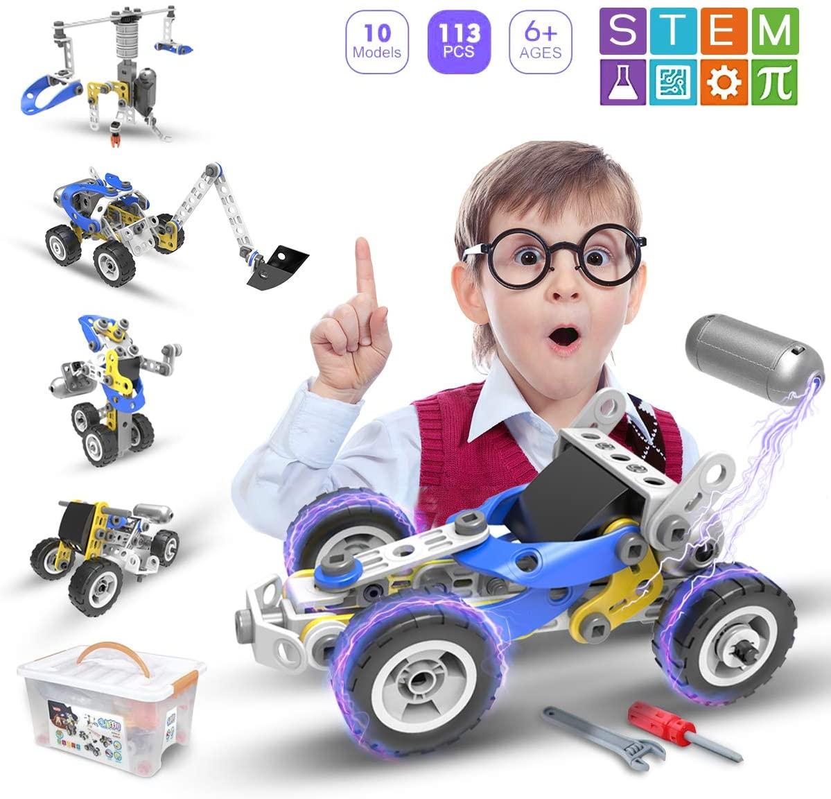 Atonofun STEM Toys Building Blocks - 5 in 1 Motorized Educational Construction Set Creative Engineering Toys Building Toys Kit Stem Learning Gift for Kids Ages 6 7 8 9 10 11 12Year Old Boys Girls