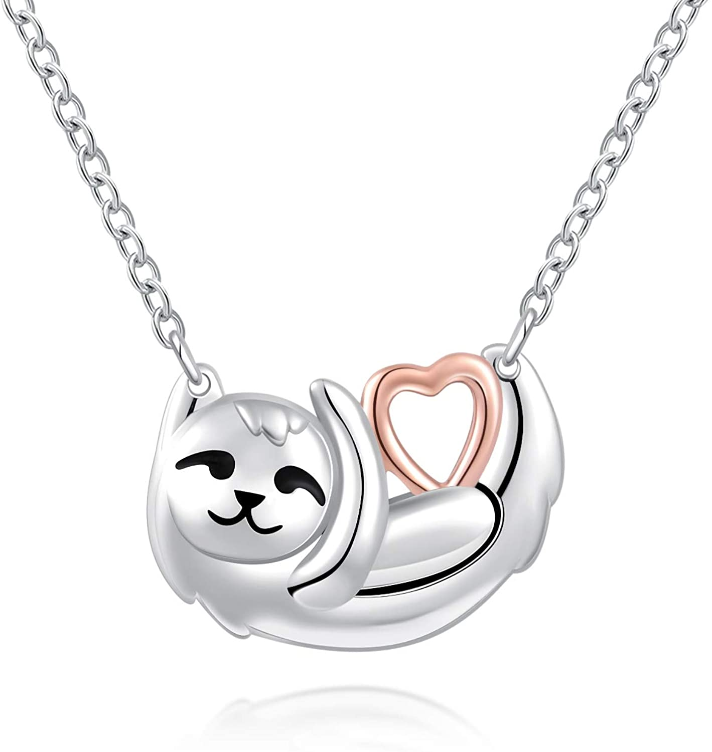 ACJFA Sloth Necklace 925 Sterling Silver Cute Sloth Hold Heart Pendant Necklace Animal Jewelry for Teen Girls Birthday Gifts for Women