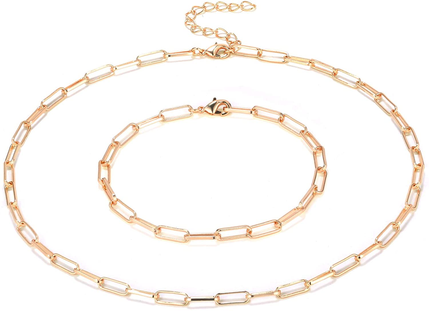 ALEXCRAFT 14K Gold Plated Paperclip Chain Link Choker Necklace for Women Girls