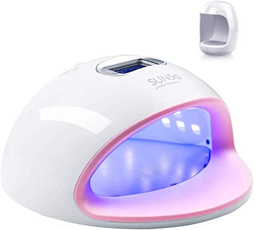 LED UV Nail Lamp with 4 Timer Setting, 72W Nail Lamp, Nail Curing Lamp Faster Nail Dryer for All Gel Nail Polishes with RGB Top Light LCD Display, Senor for Fingernail & Toenail