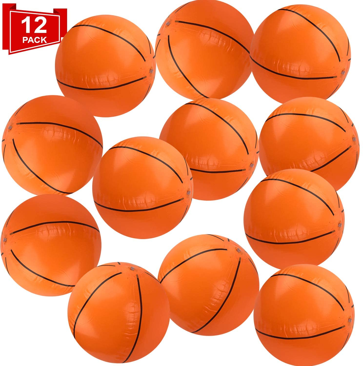Playko 16 Inch Inflatable Basketballs - Pack of 12 Basketballs for Pool - Inflatable Beach Balls - Pool Basketballs for Summer - Basketball Décor for Sports Themed Parties - Basketball Pinata
