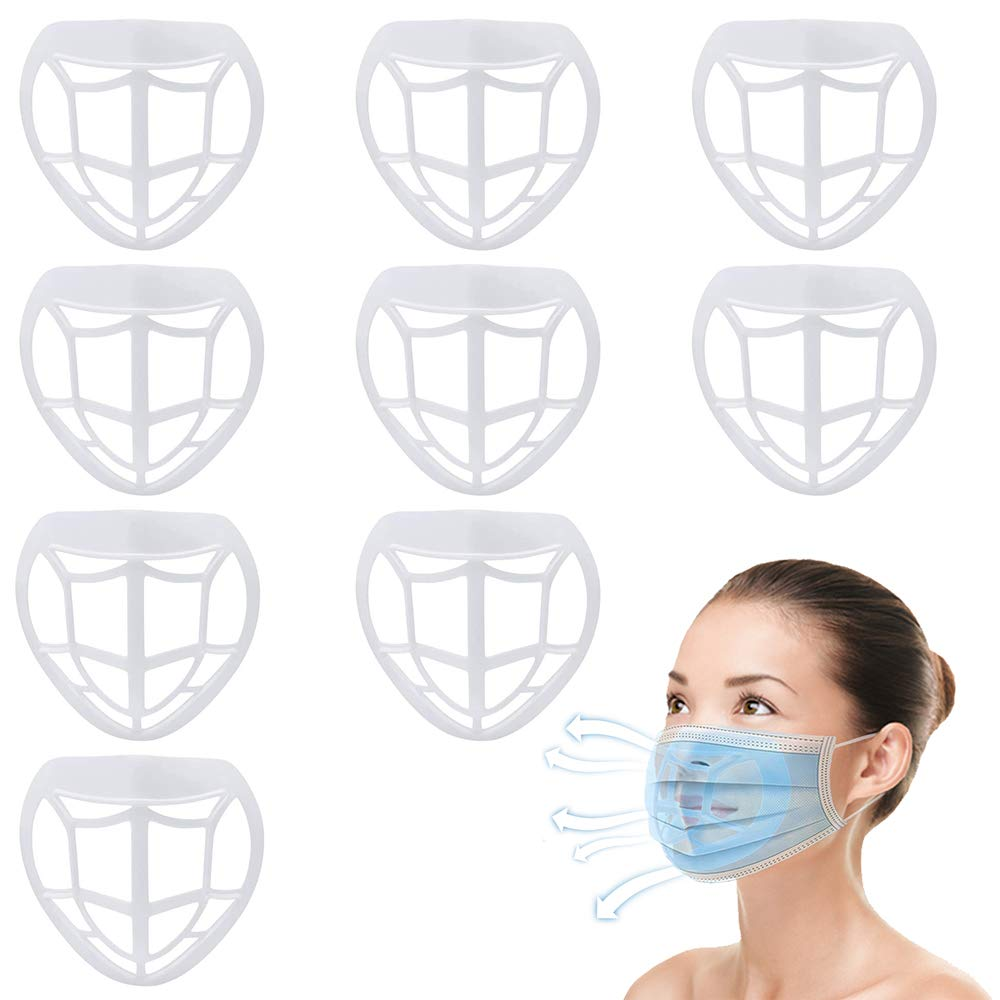 3D Bracket Lipstick Protection, Cool Mask Inner Holder Support Mouth And Nose Increase Breathing Space Reusable Washable 9PCS (White)