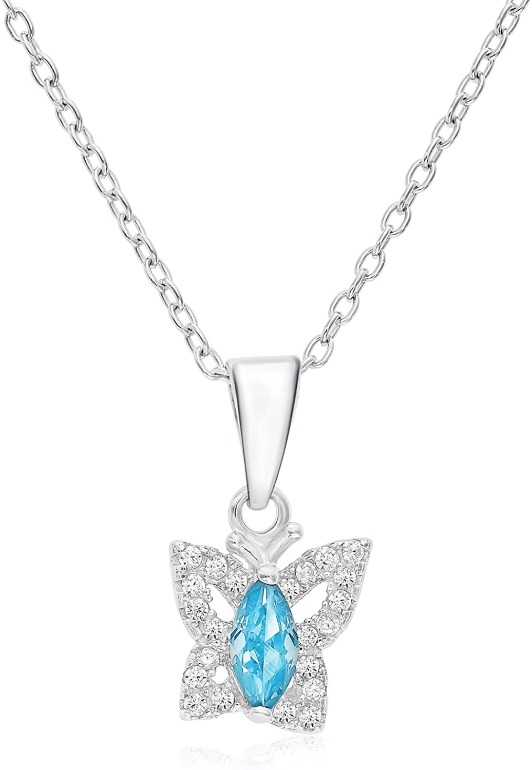Halo Butterfly Pendant in Sterling Silver with Simulated Aquamarine March CZ Birthstone with 16 Chain