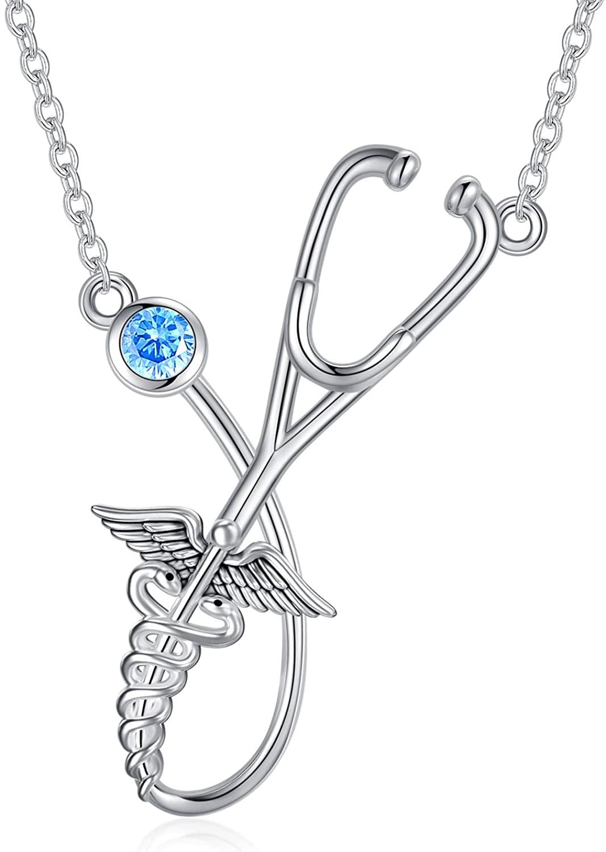 LONAGO Stethoscope Necklace 925 Sterling Silver Nurse Necklace Caduceus Angel Nursing Themed Graduation Gift for Doctor Medical Student