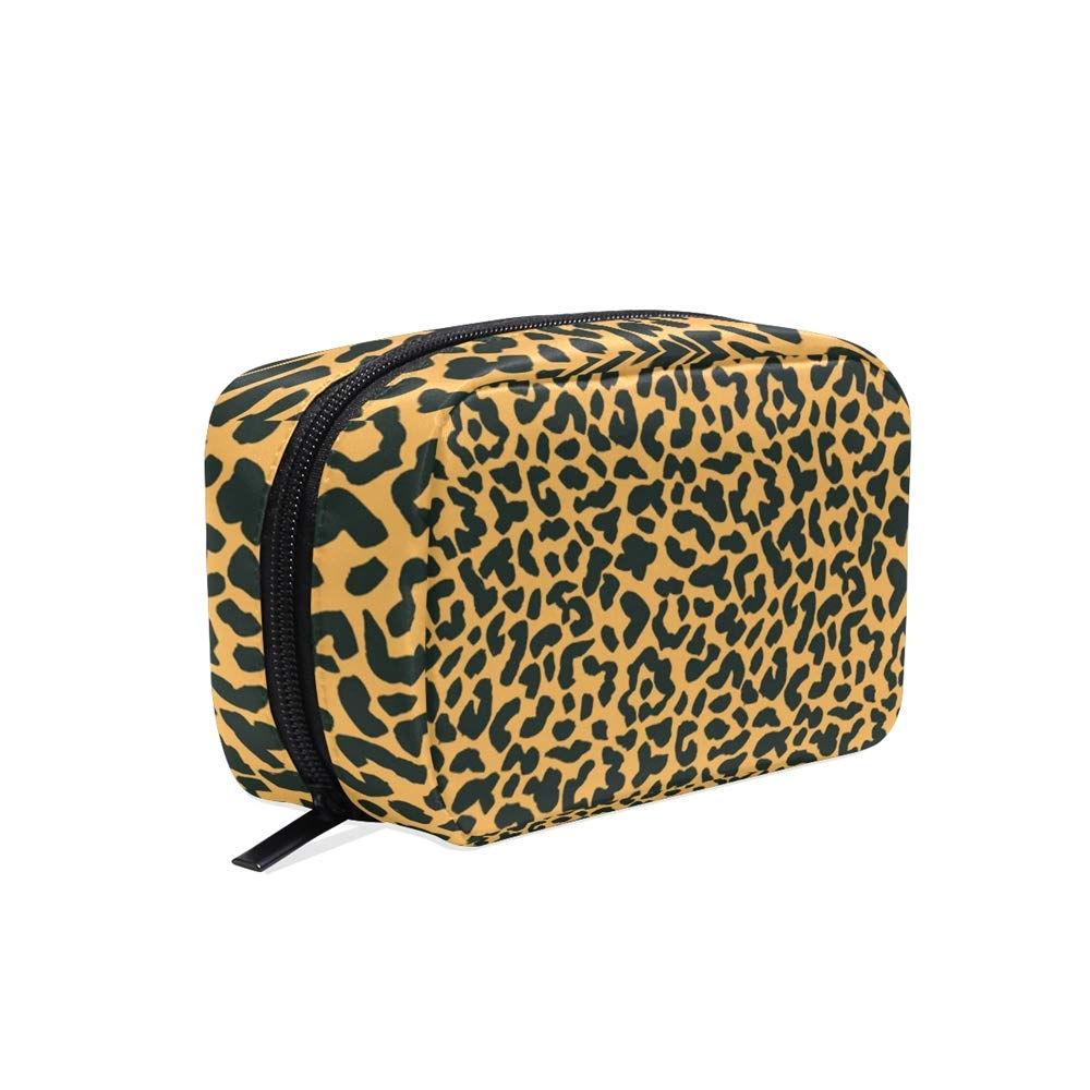 ALAZA Yellow Black Leopard Skin Travel Makeup Cosmetic Case Portable Toiletry Storage Bags for Women Girls