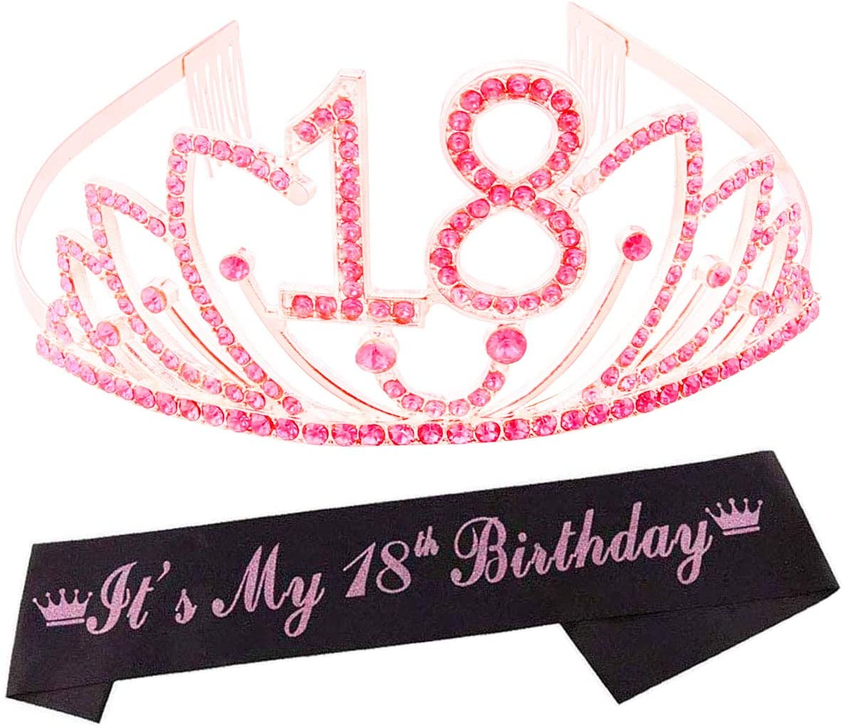 18th Birthday Tiara and Sash,18 & Fabulous Glitter Satin Sash and Crystal Tiara Crown,18th Birthday Party Decorations, Happy 18th Birthday Party Supplies,18th Birthday Gifts for Girl
