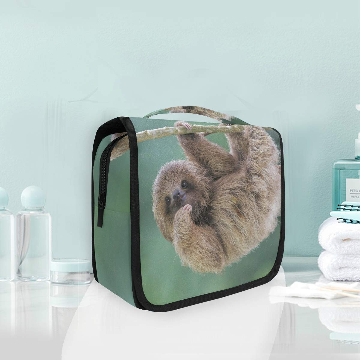 Travel Toiletry Cosmetic Bag Sloth Baby Tree Animal Hanging Shower Makeup Bag Pouch Portable Train Tote Case Organizer Storage For Women Girls